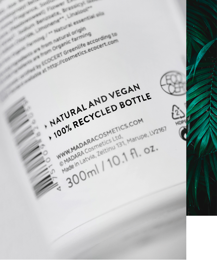 MADARA Natural and Vegan, 100% Recycled Bottles